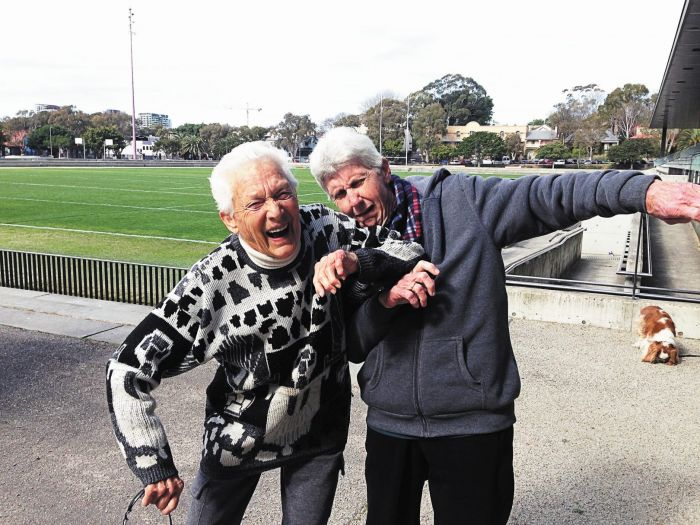 Shirley and Sue relive the glory days of skating. Photo: Philippa Clark
